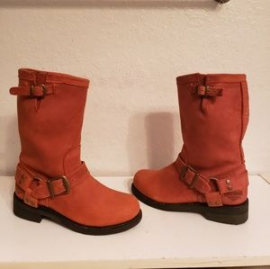 Harley Davidson Orange Motorcycle Boots Size 6